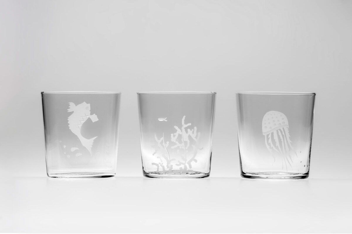Set of 6 Engraved Sea glasses CEgS