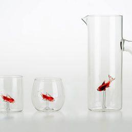 Set of 4 Little Fish Cylindrical Glasses C92